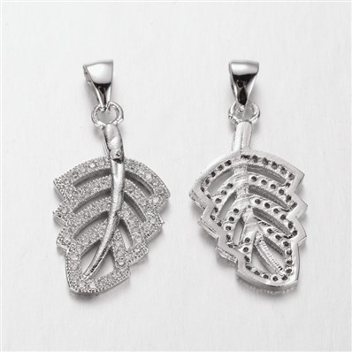 Leaf Brass Micro Pave Cubic Zirconia Pendants, Platinum, 13.5mm wide,