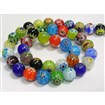 Handmade Millefiori Glass Beads Strands, Single Flower, Round, Mixed Color, 8mm in diameter, hole: 1mm