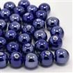 Handmade Porcelain Beads, Pearlized, Round, DarkBlue, 10mm in diameter, hole: 2~3mm
