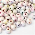 Constellation Round Craft Style Acrylic Beads, Mixed Color, 8~9mm in diameter, 7mm thick, hole: 2.5mm(SACR-R886-14)
