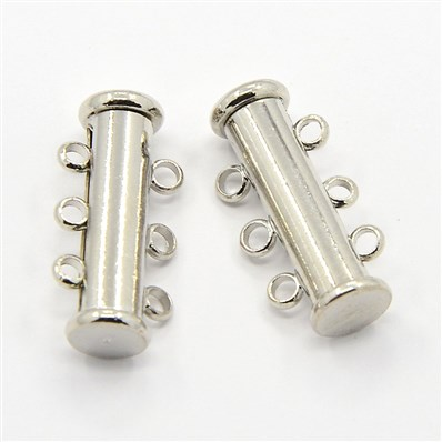 3-strands Brass Magnetic Slide Lock Clasps, 6-Holes, Platinum, 10mm wi