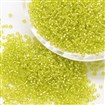 6/0 Transparent Glass Round Seed Beads, Grade A, Silver Lined, GreenYellow, 3.6~4.0mm in diameter, hole: 1.2mm, approx 500pcs/50g