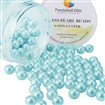 Pearlized Glass Pearl Round Beads, Dyed, Cyan, 10mm, Hole: 1mm; about 100pcs/box