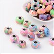 Polymer Clay European Beads, Platinum Color Brass Core, Mixed Color, 15~16mm in diameter, 10~11.5mm thick, hole: 5mm