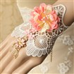 (Buy 3,Pay for 2) Gothic Style Flower Vine Lace Bracelet Alloy Enamel Rhinestone Jewelry, Golden, PearlPink, 150mm long, 120mm wide
