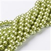 Glass Pearl Beads Strands, Pearlized, Round, YellowGreen, 10mm in diameter, hole: 1mm