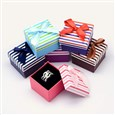 Bi-Color Square with Stripe Pattern Cardboard Ring Boxes, with Sponge Inside and Satin Ribbon Bowknots, Mixed Color, 50mm wide, 50mm long, 35mm high(CBOX-M001-44)