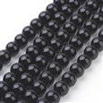 Gemstone Beads Strands, Synthetical Black Stone, Round, Black, 8mm(GSR044)