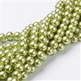 Glass Pearl Beads Strands, Pearlized, Round, YellowGreen, 10mm in diameter, hole: 1mm(HY-10D-B44)