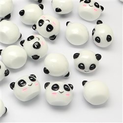 Panda Resin Cabochons, White, 16mm long, 21mm wide, 16mm thick, bottom: 11mm