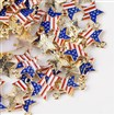 Alloy Enamel Pendants, Star with the Old Glory Pattern, Light Gold, Blue, 18.5mm long, 15.5mm wide, 1.5mm thick, hole: 2mm.