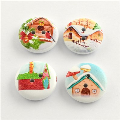 2-Hole House Printed Wooden Buttons, Flat Round, Mixed Color, 20mm in