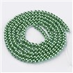 Glass Pearl Beads Strands, Pearlized, Round, Aquamarine, 4mm in diameter, hole: 1mm