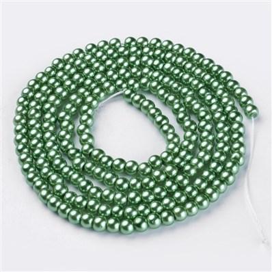 Glass Pearl Beads Strands, Pearlized, Round, Aquamarine, 4mm in diamet