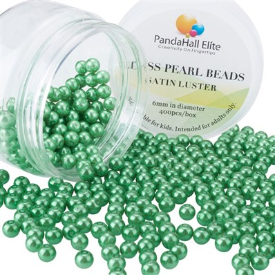 Pearlized Glass Pearl Round Beads, Dyed, Green, 6mm, Hole: 1mm; about