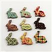 2-Hole Printed Wooden Buttons, Rabbit, Mixed Color, 30mm long, 31mm wide, 2.5mm thick, hole: 1.5mm
