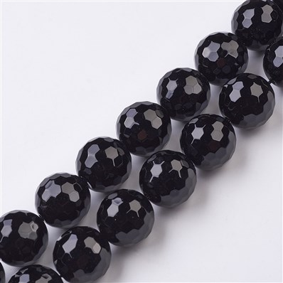 Dyed Natural Black Agate Bead Strands, Faceted, Round, 20mm, Hole: 1mm
