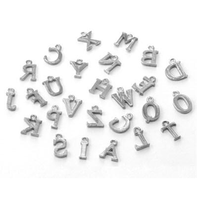 A Set Of Alloy Alphabet Pendant, A~Z, Platinum Color, 12x10.5x1.5mm, H