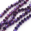 Electroplate Glass Beads Strands, Faceted, Bicone, Purple, 4mm long, 4mm wide, hole: 1mm