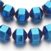 Electroplate Non-magnetic Synthetic Hematite Bead Strands, Polygon, Blue Plated, 10x10mm, approx 32~36 beads / strand