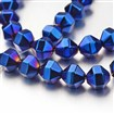 Electroplate Non-magnetic Synthetic Hematite Bead Strands, Polygon, Blue Plated, 8x8mm, approx 45~51 beads / strand