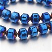Electroplate Non-magnetic Synthetic Hematite Bead Strands, Bicone, Blue Plated, 8x8mm, approx 45~50 beads / strand