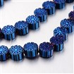 Electroplate Non-magnetic Synthetic Hematite Bead Strands, Snowflake, Blue Plated, 6x3mm, approx 57~62 beads / strand
