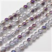 Electroplate Crackle Glass Round Bead Strands, Half Rainbow Plated, Purple, 8mm in diameter, hole: 1mm