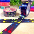 DIY Scrapbook Painted Decorative Adhesive Tape, Colorful, 15mm, 8m/roll(K-DIY-A002-A5-305)