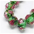 Handmade Lampwork Beads Strands, with Inner Flower, Faceted Abacus, 10x7mm(LAMP-S001-10MM-05)