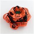 Halloween Grosgrain Flower Alligator Hair Clips, with Iron Clips and Pumpkin, Platinum, OrangeRed, clip: about 57x8mm,  flower: 107x107mm(PHAR-R165-05)
