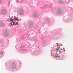 Cubic Zirconia Cabochons, Grade A, Faceted, Diamond, PearlPink, 8mm in diameter, 4.6mm thick