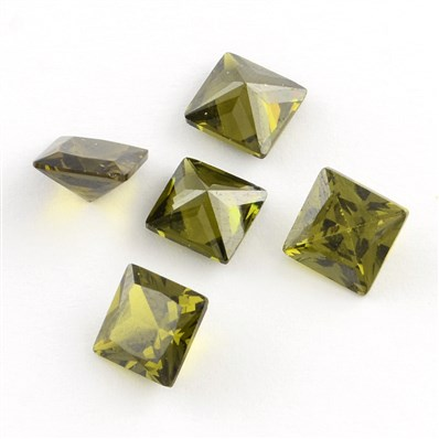 Square Shaped Cubic Zirconia Pointed Back Cabochons, Faceted, DarkOliv