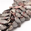 Natural Scenery Jasper Drop Bead Strands, Undyed, 20mm wide, 30mm long, 5mm thick, hole: 1mm