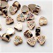 Large Hole UV Plated Acrylic European Heart Beads, with Resin Rhinestones, Golden, Mixed Color, 16mm lng, 15mm wide, 9mm thick, hole: 5x8mm.