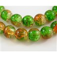 Crackle Glass Beads Strands, Inner Blossom, Round, Orange/Green, 8mm(GGC8MM015)