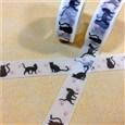 Cat & Paw Printed DIY Scrapbook Decorative Adhesive Tapes, White, 15mm, 10m/roll(K-DIY-A002-KK1515)