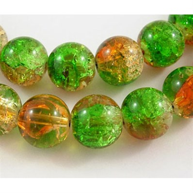 Crackle Glass Beads, Round, Orange/Green, 12mm