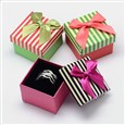 Square with Stripe Pattern Cardboard Ring Boxes, with Sponge Inside and Satin Ribbon Bowknots, Mixed Color, 50mm wide, 50mm long, 35mm high(CBOX-M001-25)