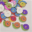 Snail Dyed 2-Hole Printed Wooden Buttons, Mixed Color, 27mm wide, 24mm long, 2mm thick, hole: 1mm