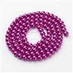 Glass Pearl Beads Strands, Pearlized, Round, Magenta, 8mm, Hole: 1mm