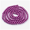 Glass Beads Strands, Pearlized, Round, Dyed, Magenta, 6mm in diameter, hole: 1mm