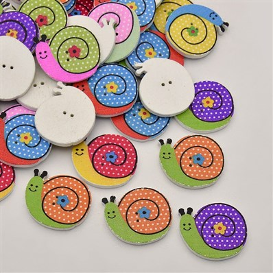 Snail Dyed 2-Hole Printed Wooden Buttons, Mixed Color, 27mm wide, 24mm