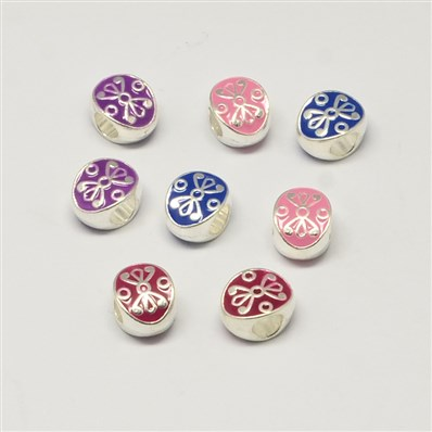 Alloy Enamel Oval Large Hole European Beads, Silver, Mixed Color, 11mm