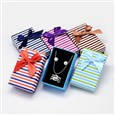 Bi-Color Rectangle with Stripe Pattern Cardboard Jewelry Set Boxes, with Sponge Inside and Satin Ribbon Bowknots, Mixed Color, 80x50x25mm(CBOX-M001-45)