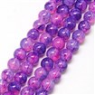 Baking Painted Glass Beads Strands, Imitation Opalite, Round, MediumOrchid, 6mm, Hole: 1.3~1.6mm; about 133pcs/strand, 31.4