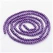 Glass Pearl Beads Strands, Pearlized, Round, DarkViolet, 4mm in diameter, hole: 1mm