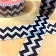 Waved DIY Scrapbook Decorative Adhesive Tapes, Black, 15mm, 9m/roll(K-DIY-A002-A4-285)