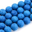 Natural Lava Beads Strands, Dyed, Round, RoyalBlue, 8~8.5mm, Hole: 1mm; about 50pcs/strand, 15.9