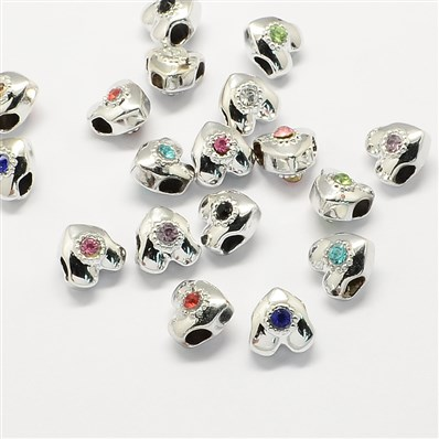 Alloy Rhinestone European Beads, Heart Large Hole Beads, Silver, Mixed